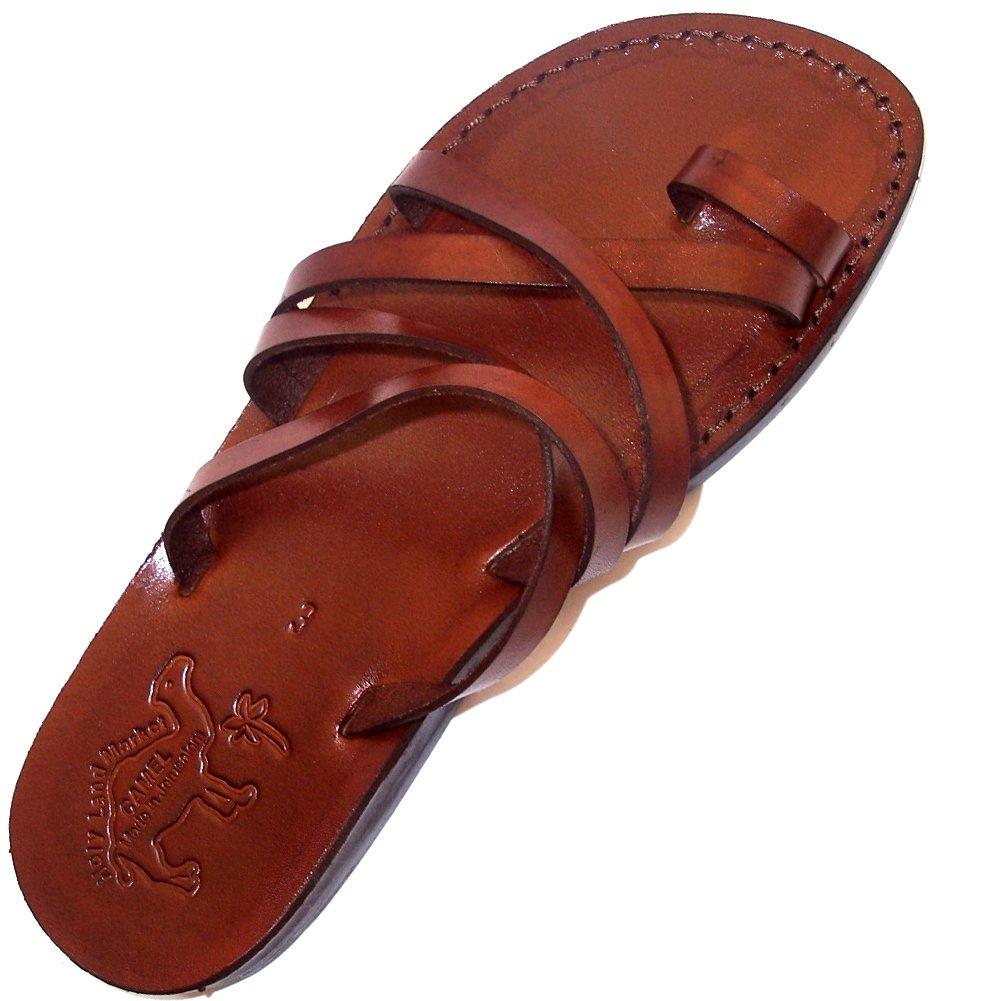Holy Land Market Unisex Leather Biblical Flip flops (Jesus - Yashua) Bethlehem Style I - EU 44