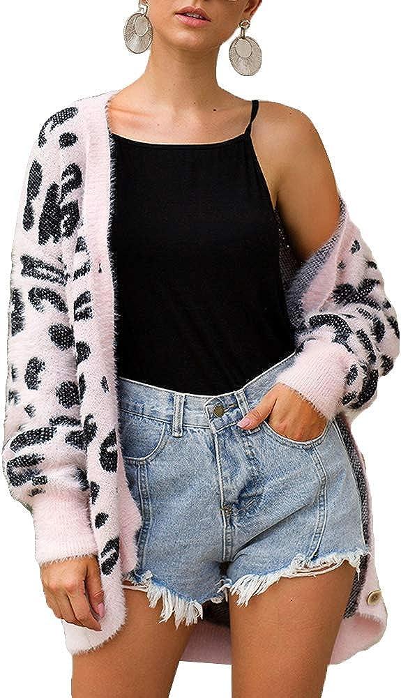 Knit Cardigan Sweaters Women Leopard Print Long Sleeve Cozy Fall Sweater Outwear