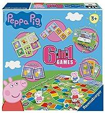 Ravensburger Peppa Pig - Juego 6 en 1 para niños y familias de 3 años en adelante, Incluye 6 Juegos clásicos: Bingo, Memoria, dominóes, Serpientes y escaleras, Damas y Cartas de Juego