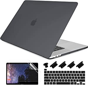 Dongke MacBook Pro 13 inch Case 2020 Release Model A2251 A2289, Plastic Hard Shell Case & Keyboard Cover Only Compatible with MacBook Pro 13 2020 Touch Bar Fits Touch ID, Matte Black