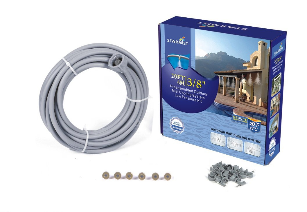 Starmist Patio Mister Outdoor Mist Cooling System Preassembled Low Pressure Kit, 6m/20', 3/8''