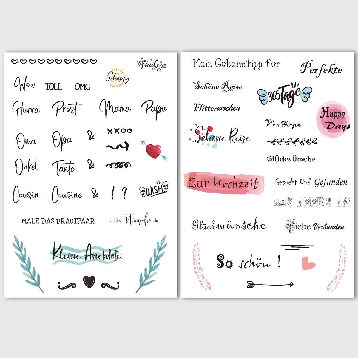 Kaszoo Gästebuch Hochzeits Sticker 175 Sticker Schöne Sprüche Aufkleber Watercolors Scrapbooking Design