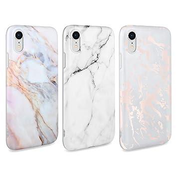 AROYI 3 x Funda para iPhone XR Mármol Silicone Suave Carcasa, Slim Soft Gel TPU Case Protección Antigolpes Cover para iPhone XR -Blanco Mármol Diseño