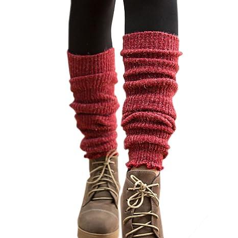 TININNA - Calcetines térmicos de punto para mujer, mezcla de lana cálida para invierno rojo