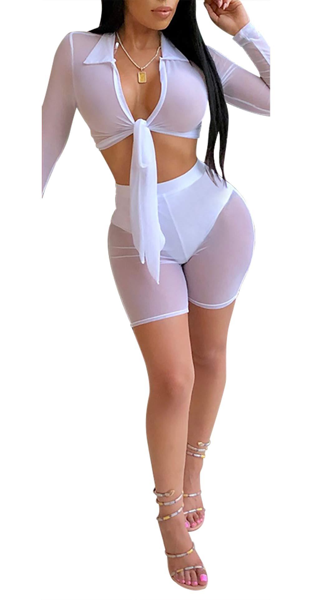DingAng Sexy 2 Piece Set Long Sleeve Mesh See Through Crop Top Bodycon Pants Nightclub Set