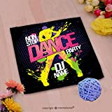 VROSELV Custom Cotton Microfiber Ultra Soft Hand Towel-non stop dance party poster with dancing woman silhouette made from blots pop art style Custom pattern of household products(20''x20'')