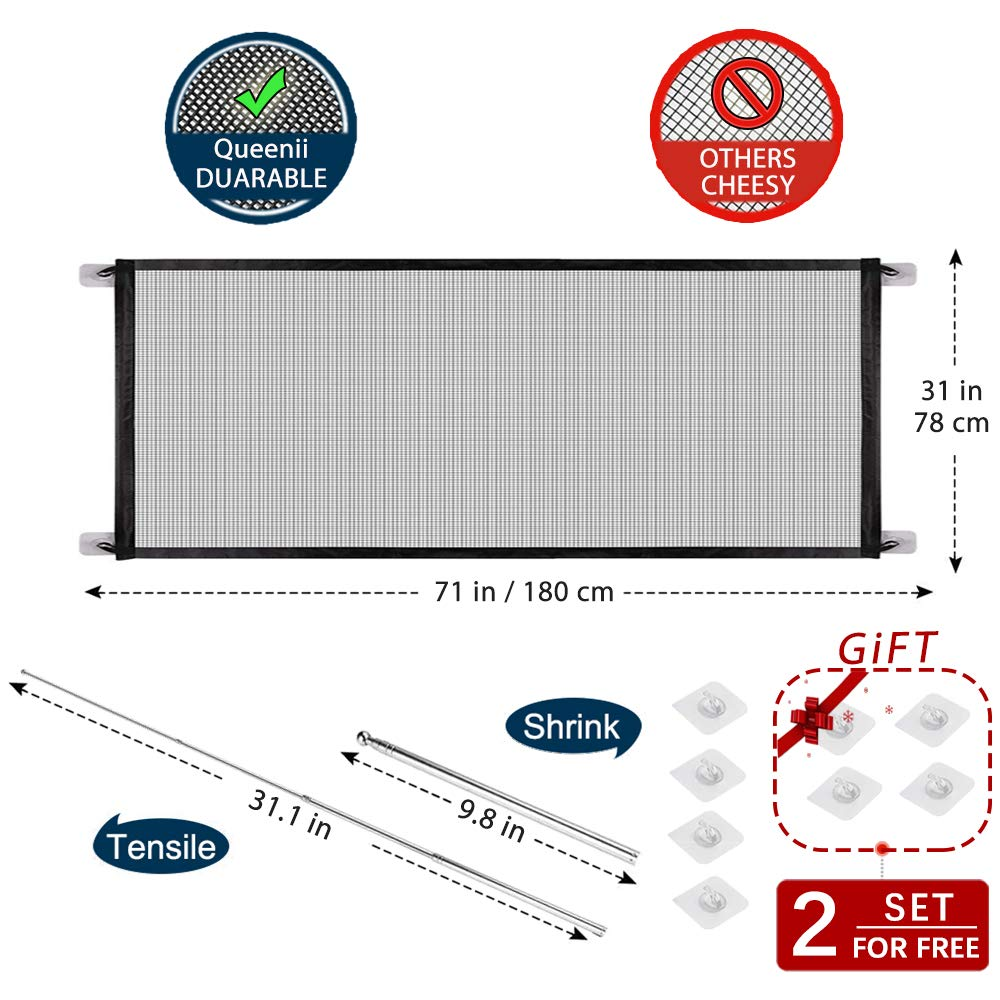 Safe Guard Install Anywhere Safety Fence for Hall Doorway Wide Tall-71 x 31 Portable Folding Mesh Magic Gate Baby Safety Gates Black Magic Gate for Dogs,Queenii Pet Safety Gate