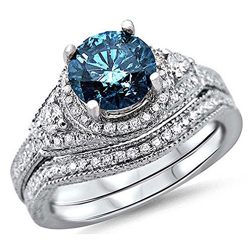 Romantic Fate Blue Gemstone Studded Zircon Double Row Deluxe Style Diamond Accented Wedding Fashion Ring (Big Lots Halloween Clearance)