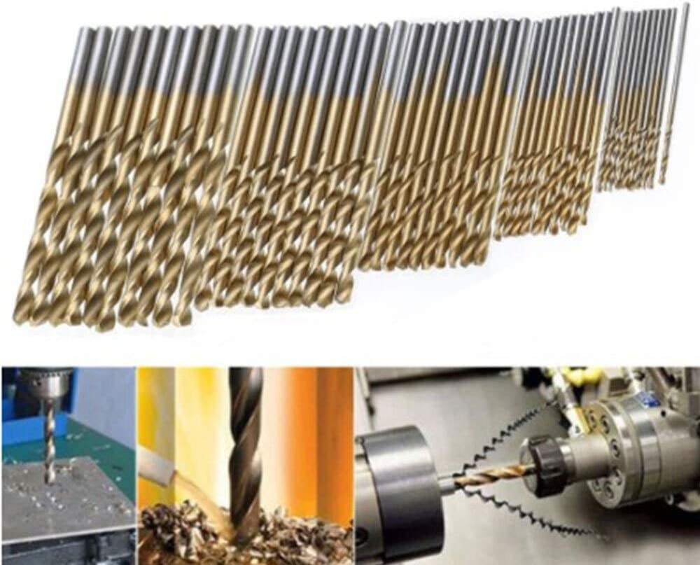Basic Cellphone Cases CZMY Drill Bit Sets Many Kinds of High Speed Steel Titanium Coated Twist Drill Bit Straight Shank Bit Hand Drill Drill Bits Color : 50pcs