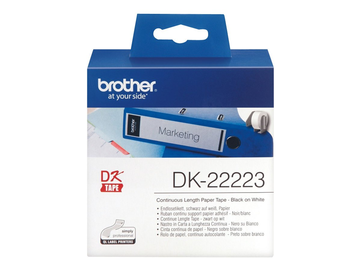 Brother DK22225 Etichette a Lunghezza Continua, Carta Adesiva, 38 mm x 30.48 m, Bianco