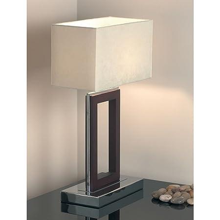 Table lamp dark woodchrome amazon kitchen home table lamp dark woodchrome aloadofball Choice Image