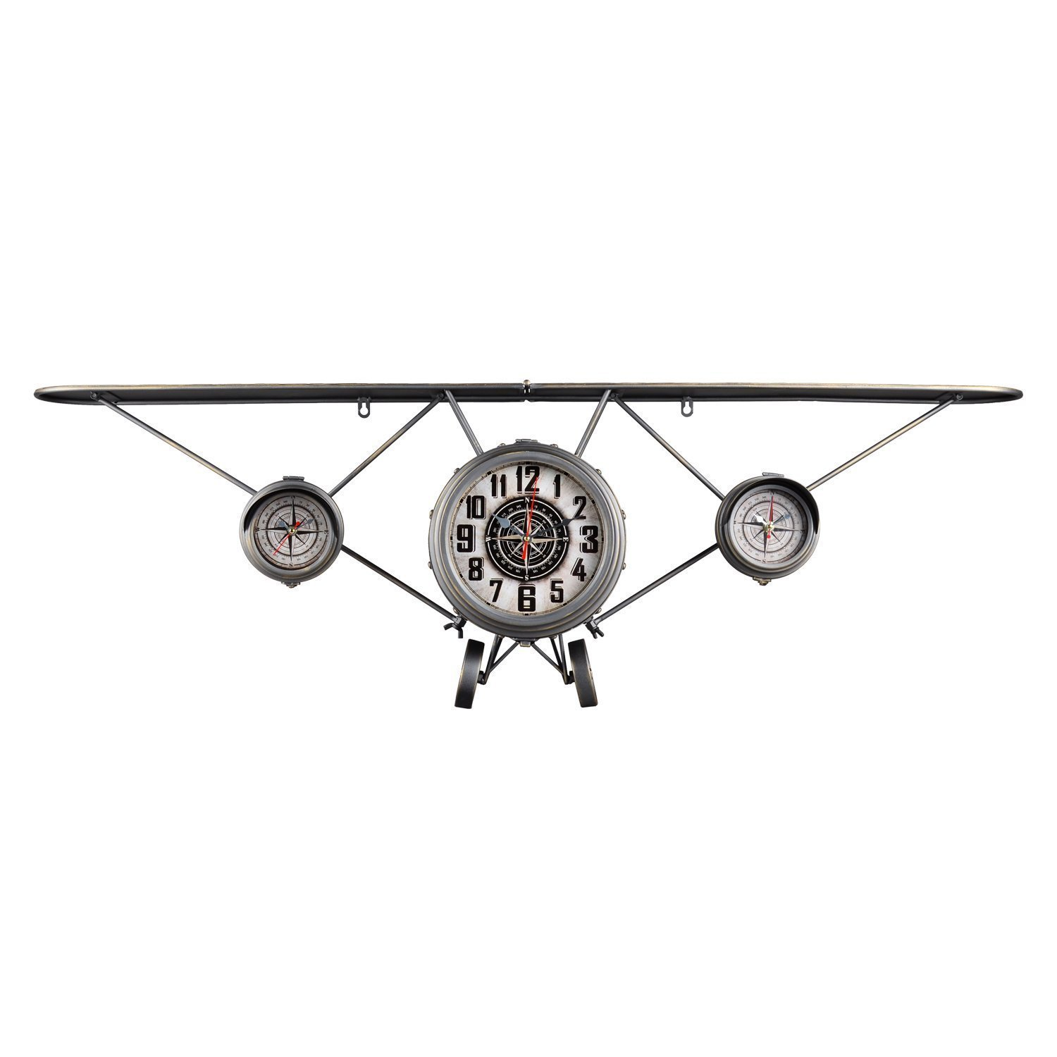 Utopia Alley Airplane Flyer Wall Clock with Side Compasses, Distressed Finish, Gunmetal