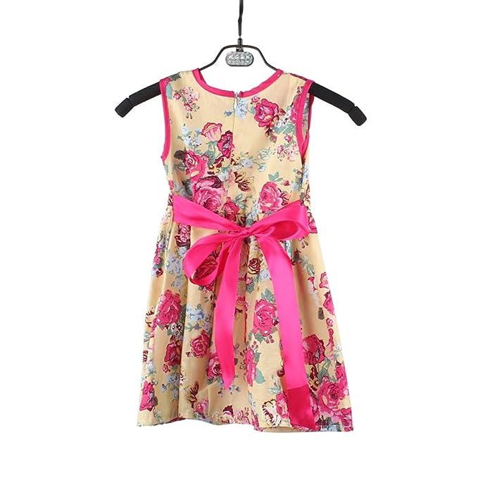 💜 Vestido de Niñas, Flower Princess Fiesta Niños Vestido Formal Sin Mangas Floral Vestido Bohemio Vestido de Vacaciones Junto Al Mar Absolute: Amazon.es: ...