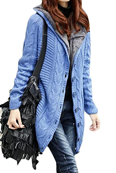 BYWX Womens Fashion Hooded Button Front Fleece Cardigan Sweater ...