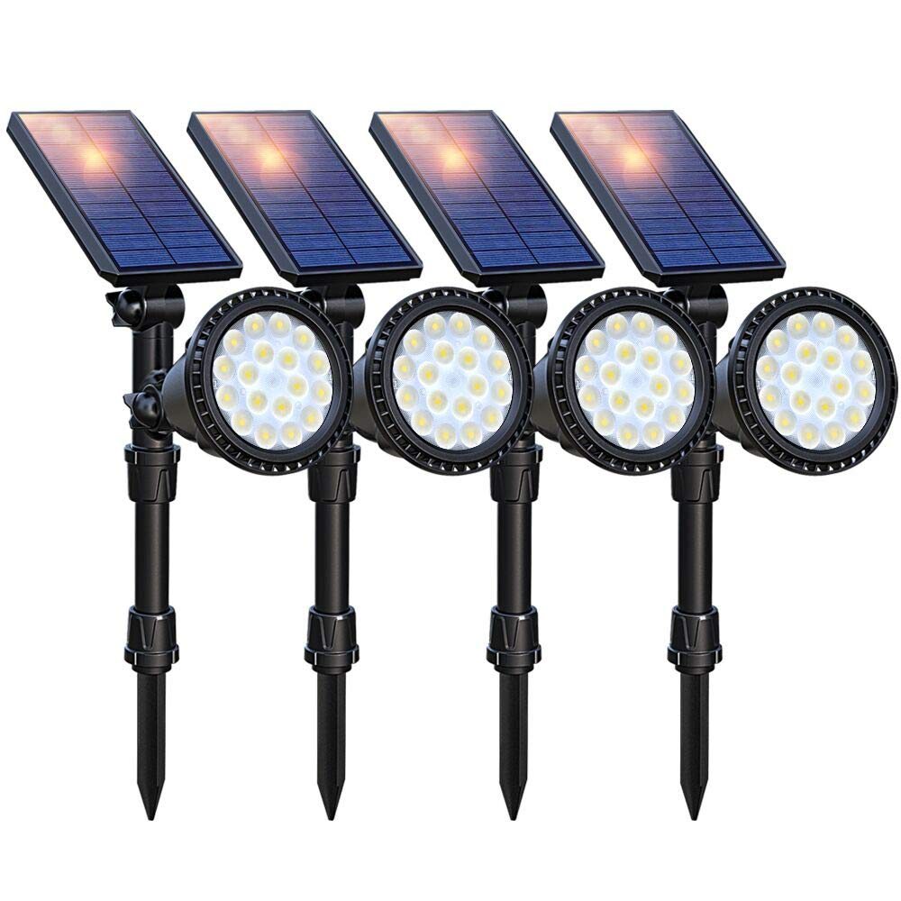 DBF Solar Lights Outdoor Upgraded, 18 LED Waterproof Solar Landscape lights Solar Spotlight Wall Light Auto On/Off Wireless Landscape Lighting for Garden Yard Pathway Pool Area, Pack of 4 (Cool White)