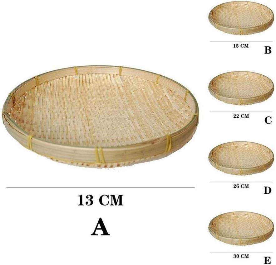 LHjin-Contenedores de Pan Bandeja de Almacenamiento de Cocina Bamb/ú Bread Basket Ronda de bamb/ú de la Armadura de art/ículos Varios de contenedores Bandeja de Almacenamiento de Picnic Ronda
