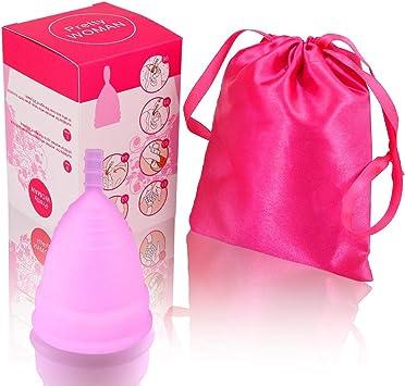 Kindax Copa Menstrual 100% silicona. Grado médico sin BPA Certificado FDA – Segura, antialérgica, ergonómica y ecológica. Incluye una bolsita para ...