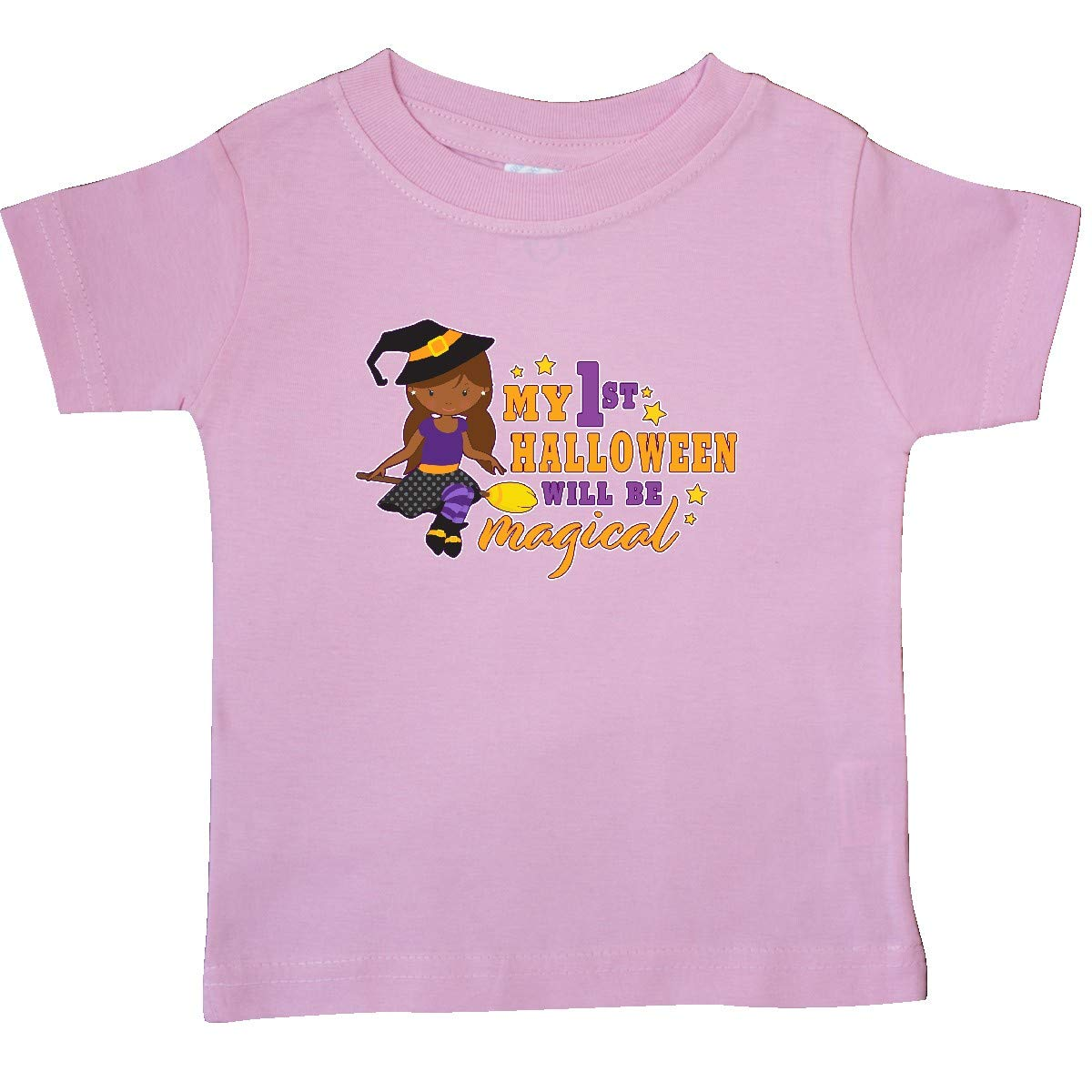 inktastic My 1st Halloween Will Be Magical with Brown Haired Witch Baby T-Shirt