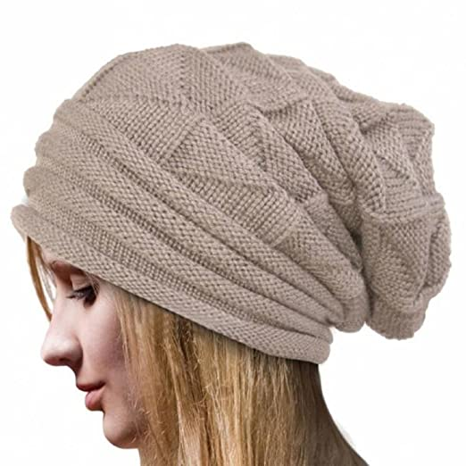 35a9da8e531 HGWXX7 Women Winter Warm Oversized Solid Crochet Hat Wool Knit Skullies Beanie  Caps(One Size