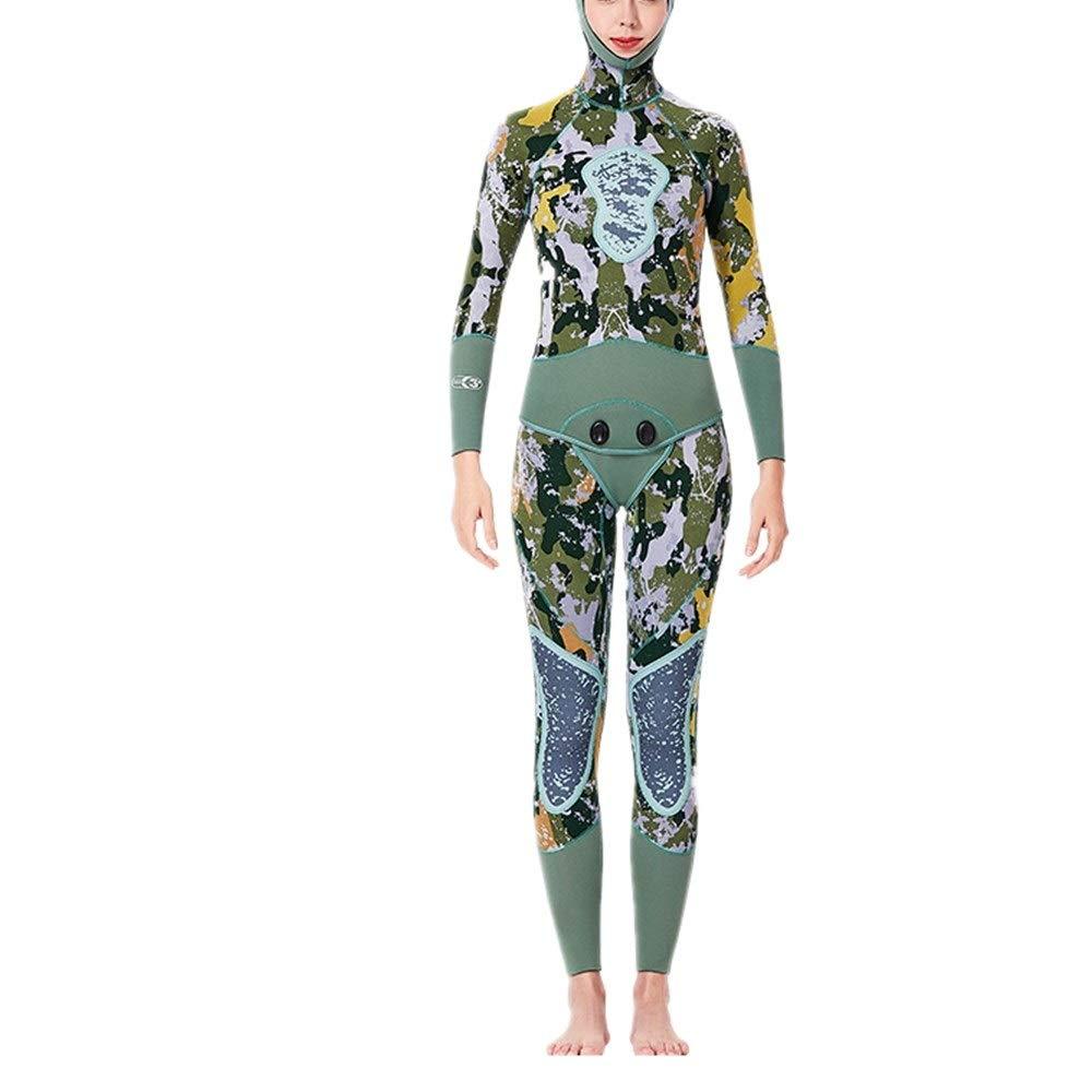 女性のウェットスーツ 女性の2ピースフード付き長袖ウェットスーツフルボディダイビングスーツ3 mmプレミアムネオプレンウェットスーツ サーフィンウェットスーツ (Size : XL)  X-Large