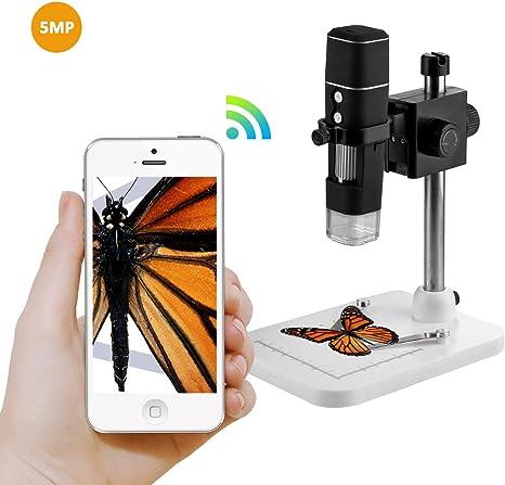 USB microscopio cámara 5 Mp 500 x lupa, foto y vídeo cámara WiFi ...