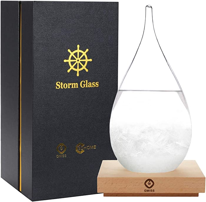Storm Glass Weatherman, Stylish and Creative Desktop Weather Forecaster With Wooden Base, Small Weather Station for Home and Office - XL