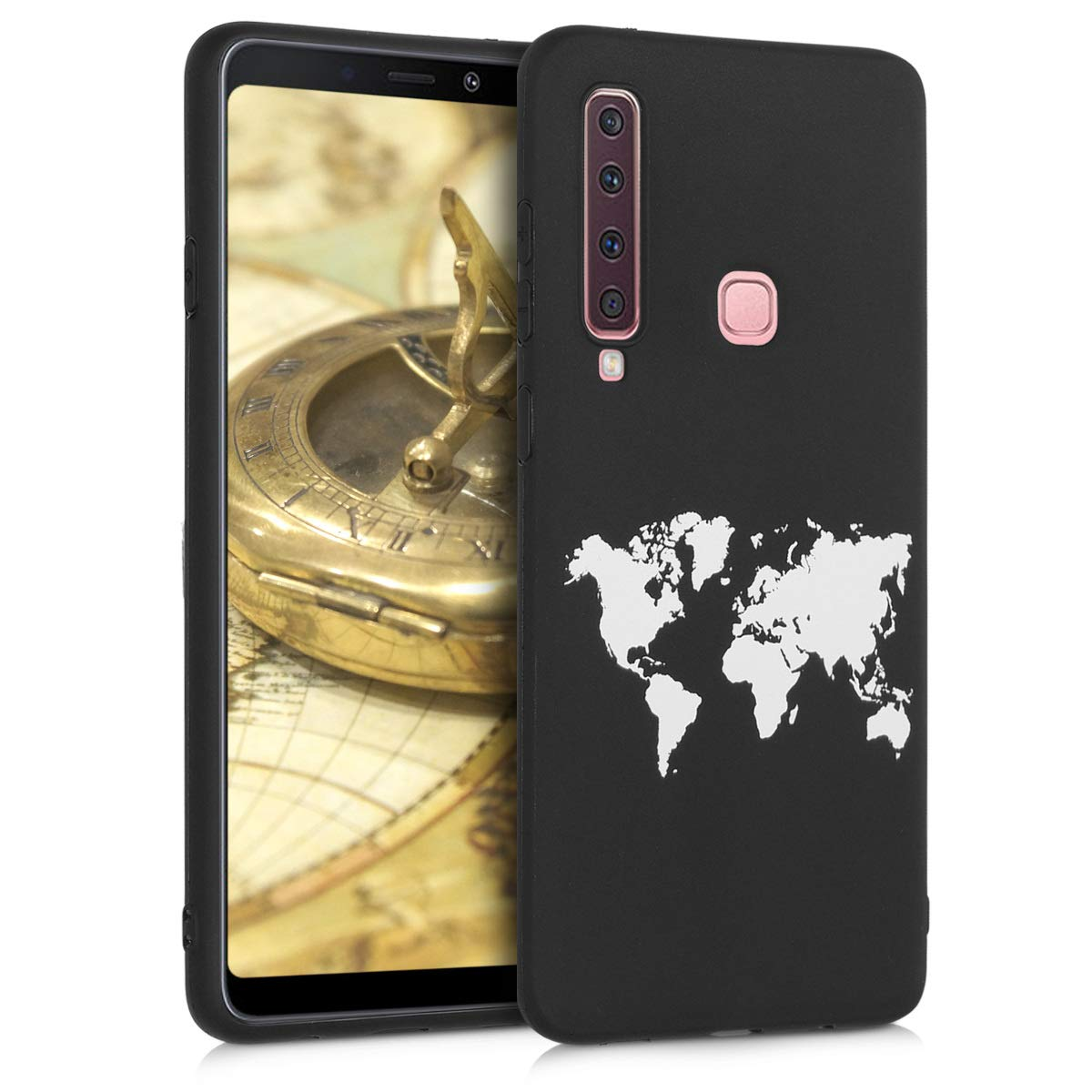 kwmobile TPU Silicone Case for Samsung Galaxy A9 (2018) - Soft Flexible Shock Absorbent Protective Phone Cover - White/Black