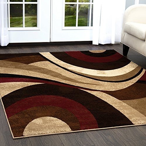 Home Dynamix Tribeca Slade Area Rug | Contemporary Living Room Rug | Bold Abstract Design | Warm-Inviting Feel | Brown, Red 3 Piece Set 5'2 x 7'2, 19.6