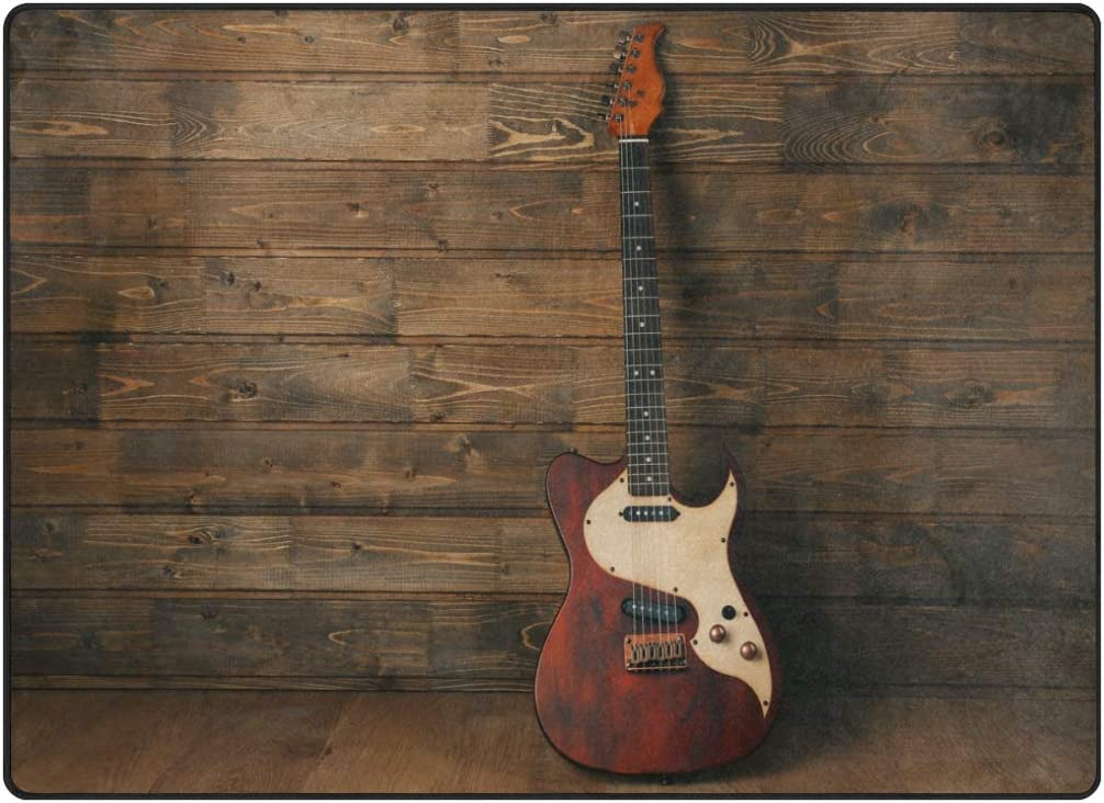 alaza Vintage Electric Guitar on Wooden Music Area Rug Rugs for Living Room Bedroom 5 3 x4
