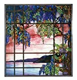 13 Inch Multi-Colored Tiffany Style Glass - View of Oyster Bay Scenery