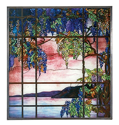 13 Inch Multi-Colored Tiffany Style Glass - View of Oyster Bay Scenery by YTC