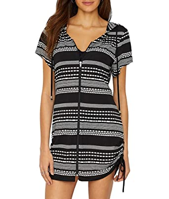 7171f7884a9 Amazon.com: Dotti Women's Ibiza Stripe Side Shirred Hoodie Tunic Cover-Up:  Dotti: Clothing
