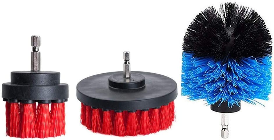 No-branded L.W.SURL Drill Brush 3Pcs 2/3.5/4 Inch Scrubber Tub Cleaning Brush Red Blue Yellow Electric Drill Brush Tile Grout Power (Color : Yellow) E Blue