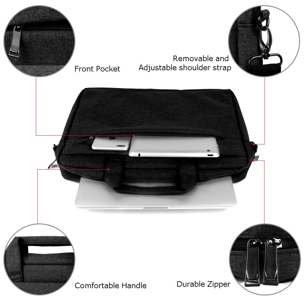 Gris Acer Asus Dell HP Lenovo Sony Toshiba iCasso multifuncional Laptop funda Correa desmontable hombro bolso para 13-15.4 pulgadas Ordenador Port/átil Malet/ín para port/átiles de hasta 15.4