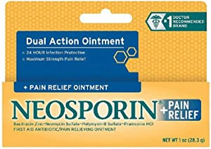 Neosporin + Maximum-Strength Pain Relief Dual Action Antibiotic Ointment with Bacitracin Zinc, 1 oz