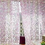 Diamondo Chic Leaf Type Tulle Door Window Curtain Rural Leaf Design Curtain (Pink)