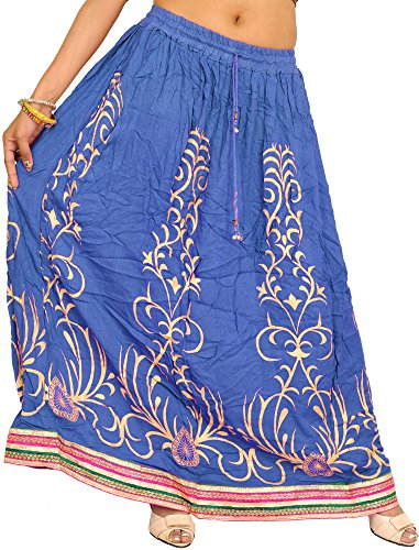Exotic India Printed Long Skirt with Embellished Patch - Color Classic - Embellished Skirt And Printed
