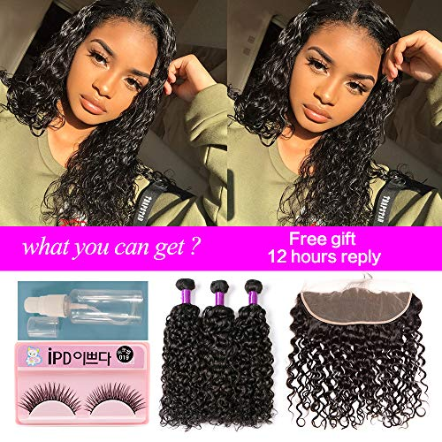 Water Wave Bundles with Frontal Wet and Wavy Human Hair Weave Bundles Ear to Ear Lace Frontal with Bundles Baby Hair Brazilian Hair Bundles with Closure Weave Hair Human Bundles with Lace Frontal