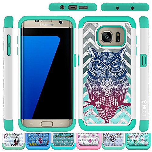 Price comparison product image Galaxy S7 Edge Case, HLCT Rugged Shock Proof Dual-Layer Case for Samsung Galaxy S7 Edge (2016) (Owl Green)