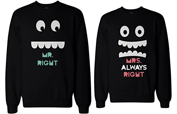 Su y su Mr Right y Mrs Always Right juego Sudaderas para parejas: Amazon.es: Ropa y accesorios