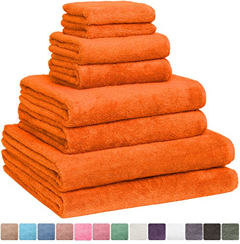 Fast Drying Extra Large Bath Towel Set, Decorative & Luxury Premium Turkish Cotton Towels for Clearance - Spa & Hotel Quality - Pack of 8 including 2 Oversized Bath Sheets (30x60) - Orange