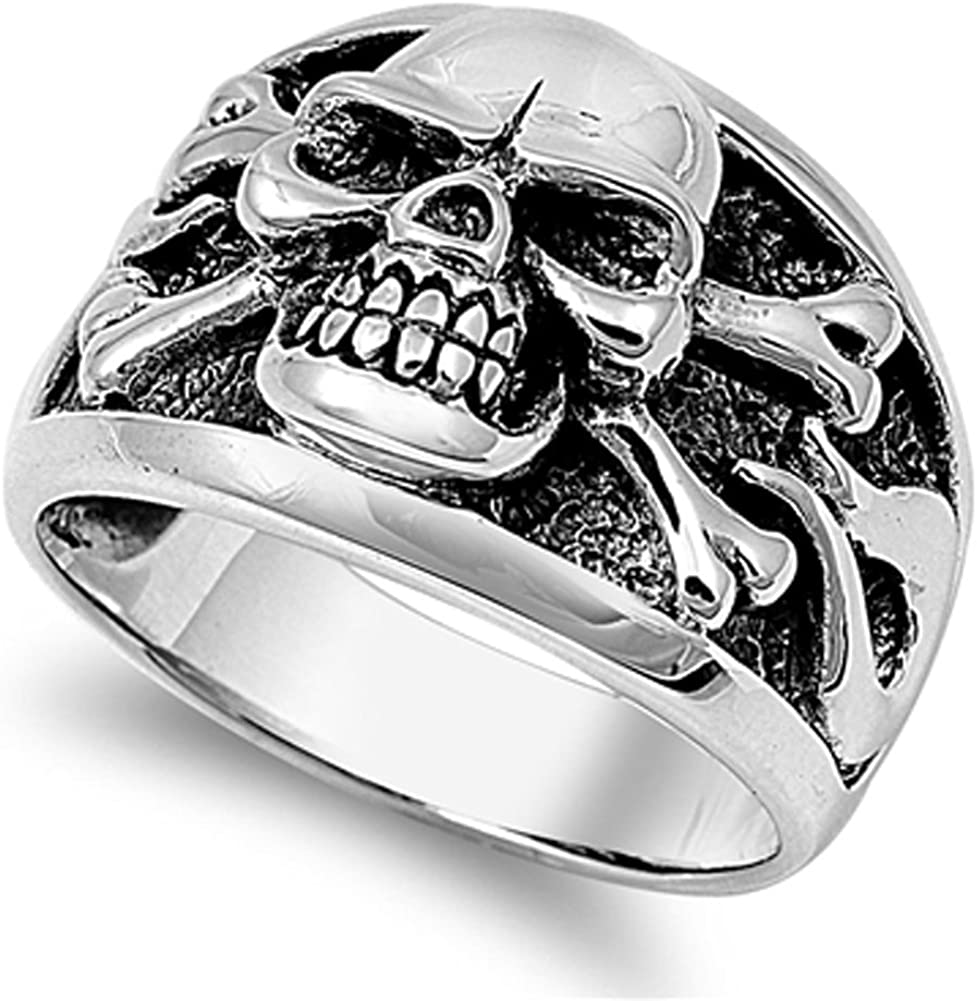 Men's Biker Skull Crossbones Polished Ring .925 Sterling Silver Band Sizes 7-14