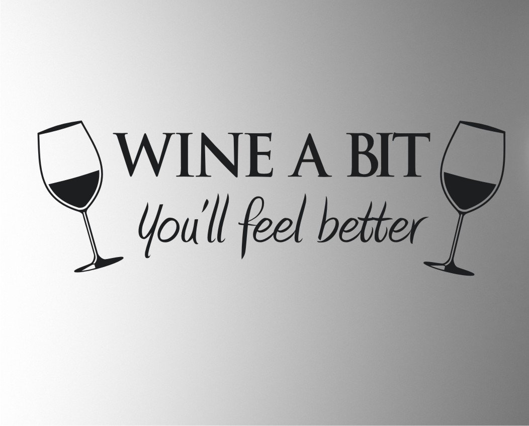 WINE A BIT KITCHEN Vinyl Wall Quote Sticker BY Cols Decals UK - Vinyl decals for wine glasses uk