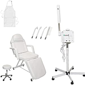 LCL Beauty Salon Spa Package: 2 in 1 Herbal Aromatherapy Facial Steamer, Professional High Frequency Machine. Adjustable Facial Bed with Technician Stool