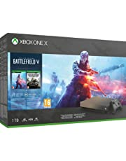 Microsoft Xbox One X, schwarz - Battlefield V Gold Rush Special Edition Bundle