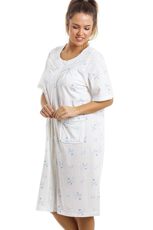 ** KNEE LENGTH LADIES NIGHT DRESS BUTTON VARIOUS NIGHTIE NEW ** FLOWER /& DOTS
