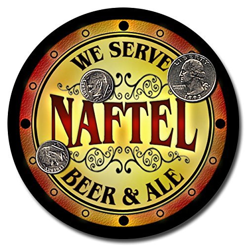 Naftel Family Name Beer and Ale Rubber Drink Coasters - Set of 4