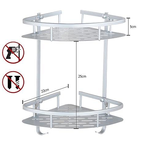 Organizador estantería esquinero adhesivo de 1, 2, 3 pisos de ducha con cesta de aluminio, organizador con ganchos, accesorios de baño triangulares, 2 ...