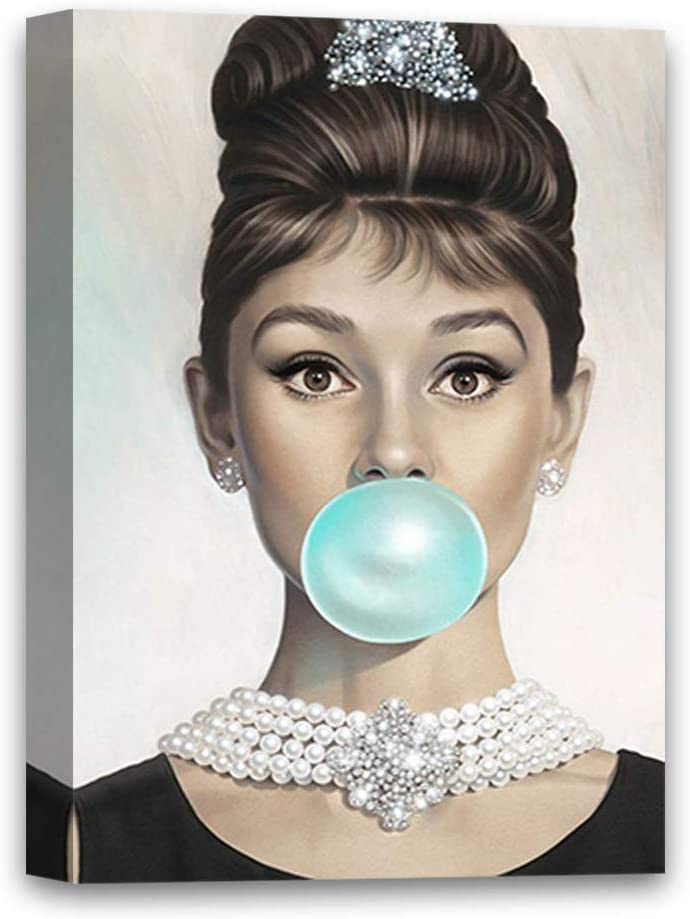 """Funny Ugly Christmas Sweater Hepburn Fans Star Fashion Illustration for Room Decor Hepburn Blowing Bubble Gum Canvas 8"""" x 12"""""""
