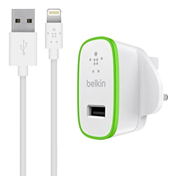 ba34e87ec88 Belkin Fast 2.4 A USB Mains Charger with 1.2 m Lightning Charge and Sync  Cable for